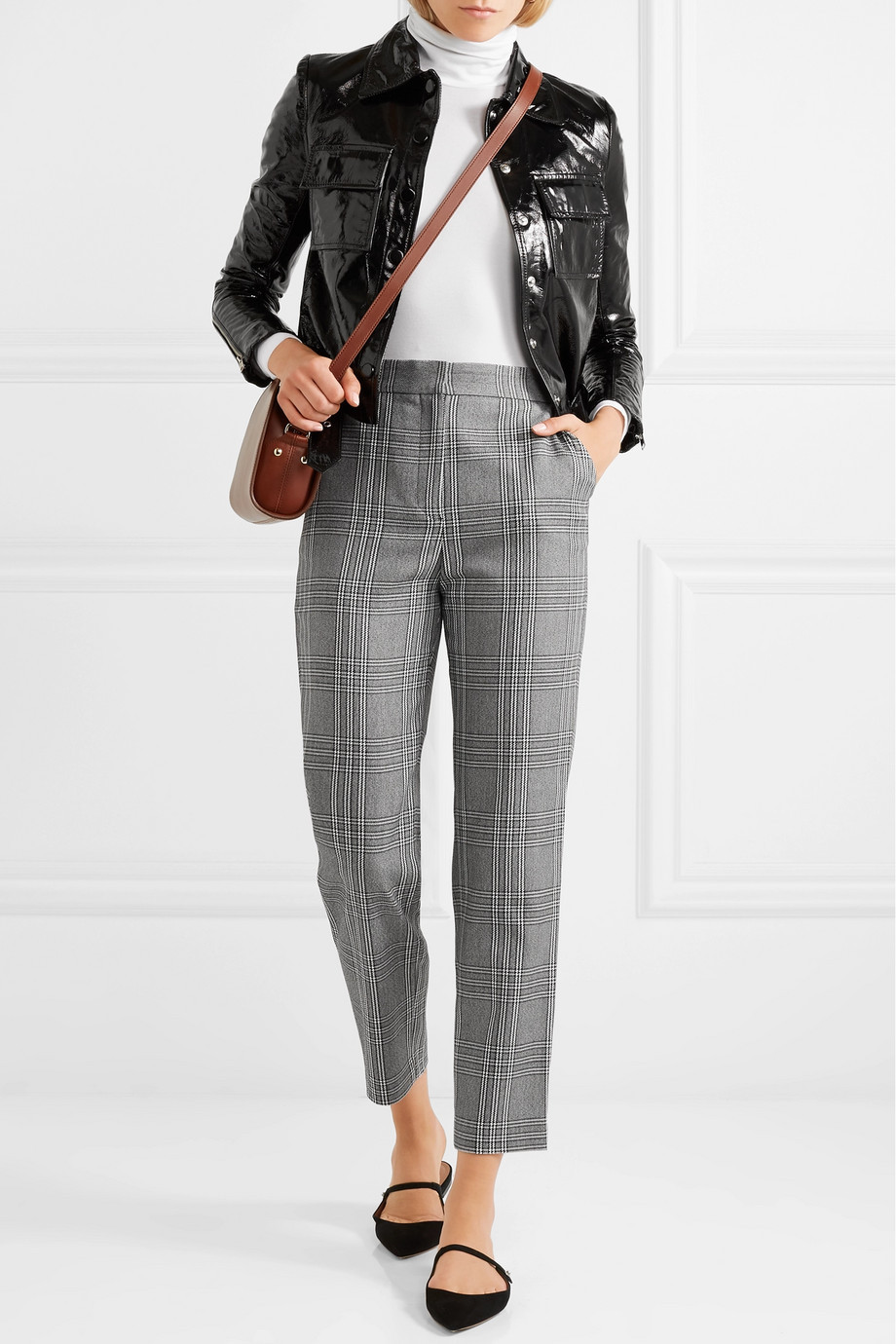 MAJE Checked woven tapered pants $295