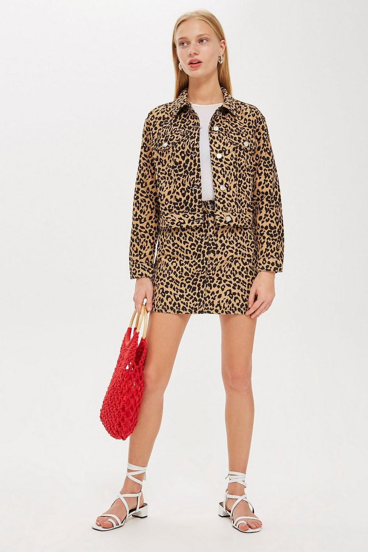 Topshop Leopard Fitted Denim Jacket $85 & Leopard Print Denim Skirt $60