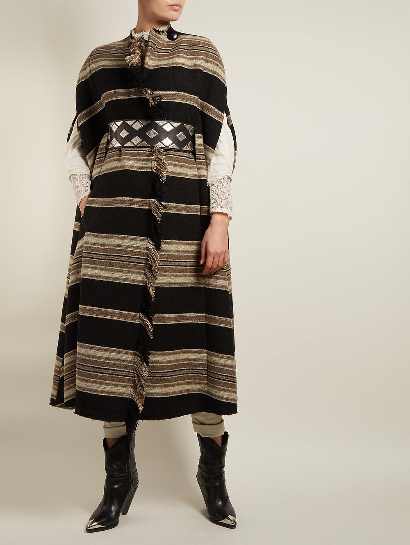 Isabel Marant Huan fringed striped cape $1,395