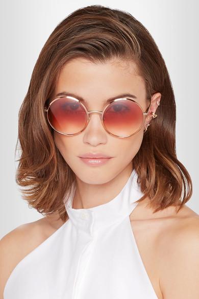 Dolce & Gabbana Round-frame rose gold-tone sunglasses $240