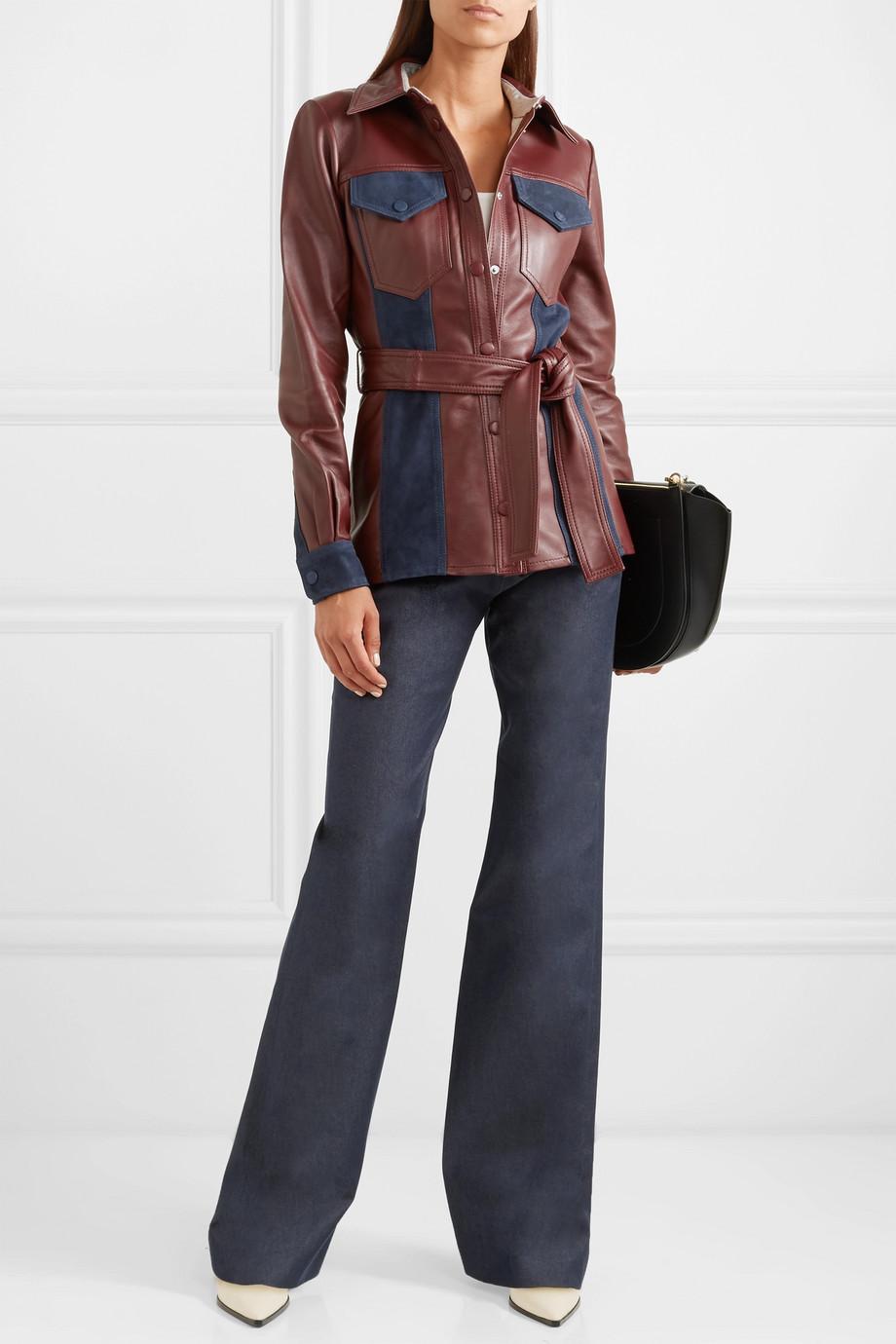 Victoria, Victoria Beckham Suede-paneled leather jacket $1,130