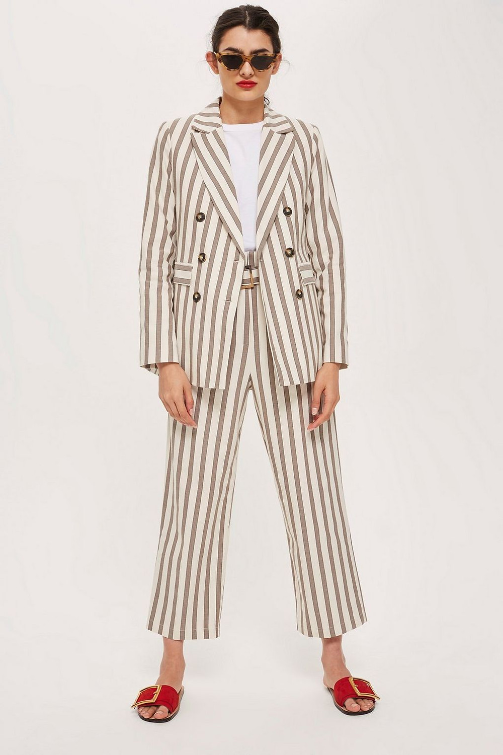 Topshop Striped Double Breasted Blazer $55