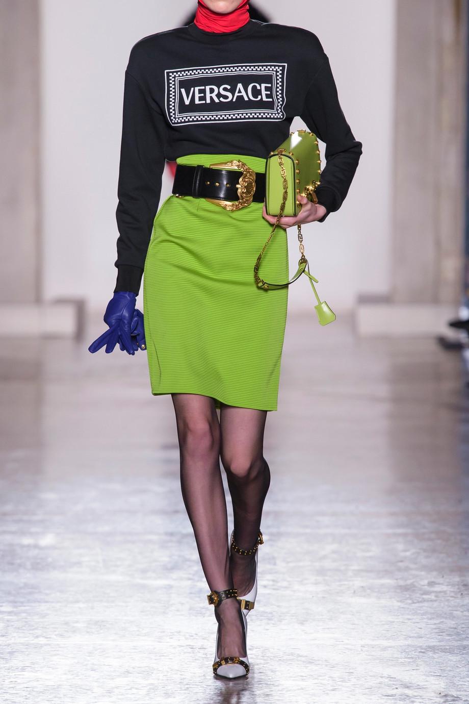 Versace Ribbed-knit skirt $975
