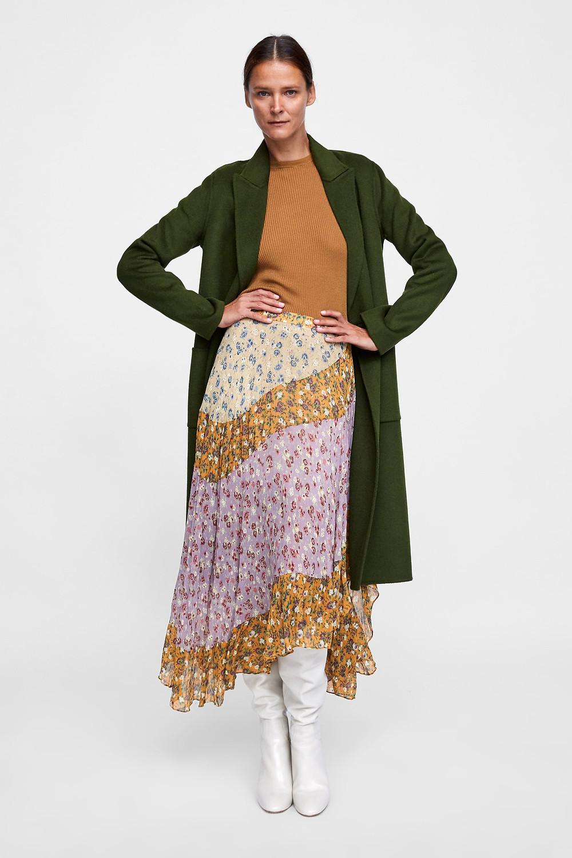 Zara Floral Print Patchwork Skirt $119