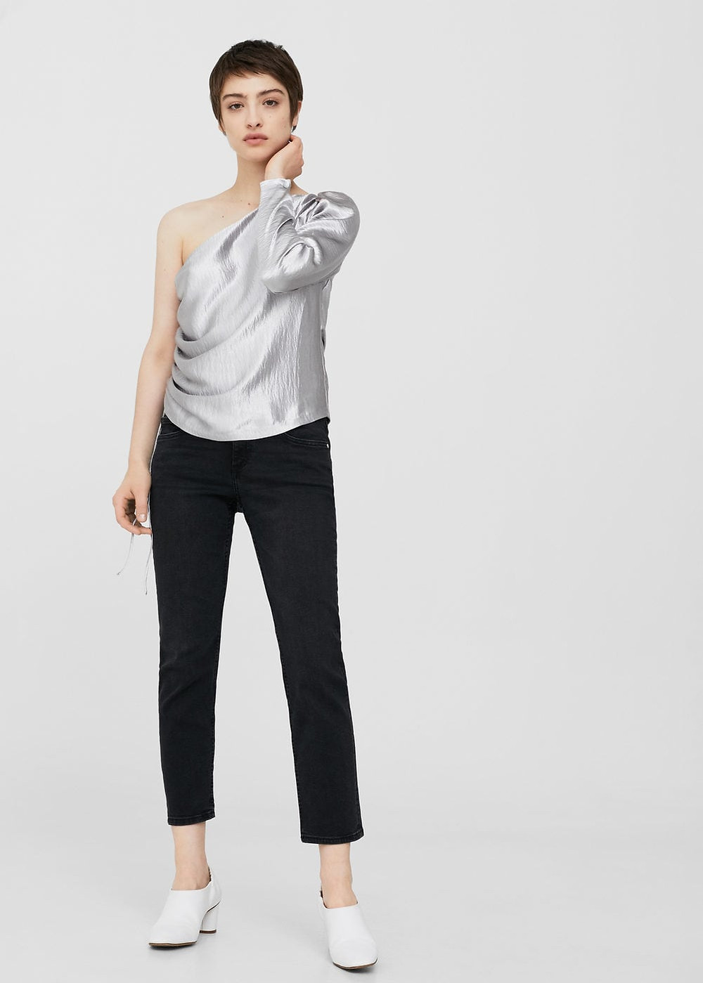 Mango Asymmetric metallic blouse $49.99