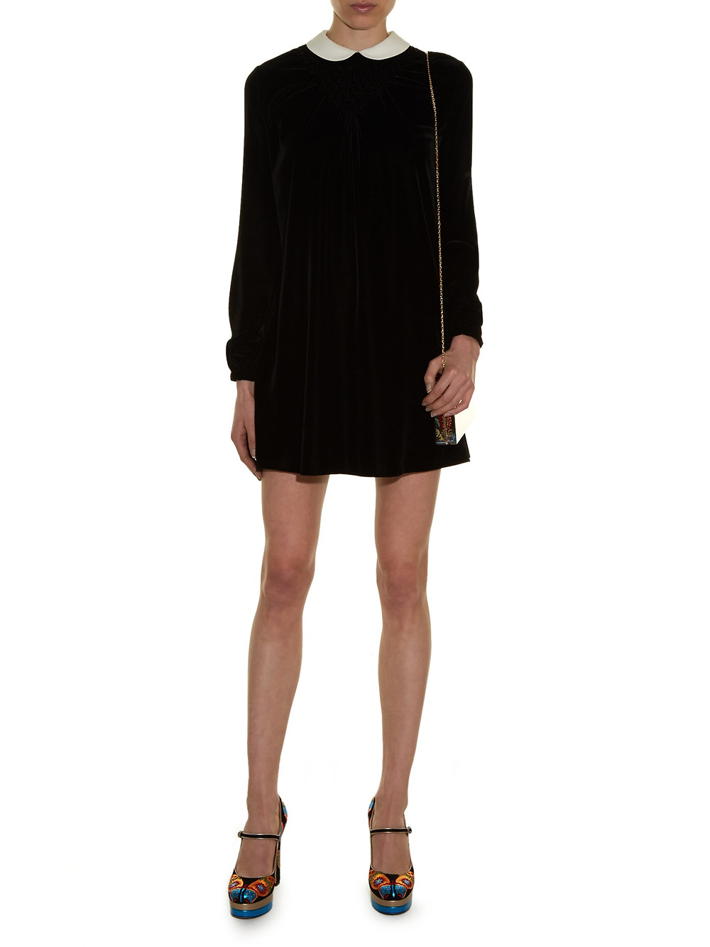 Valentino Peter Pan Collar Smocked Velvet Dress $6,590