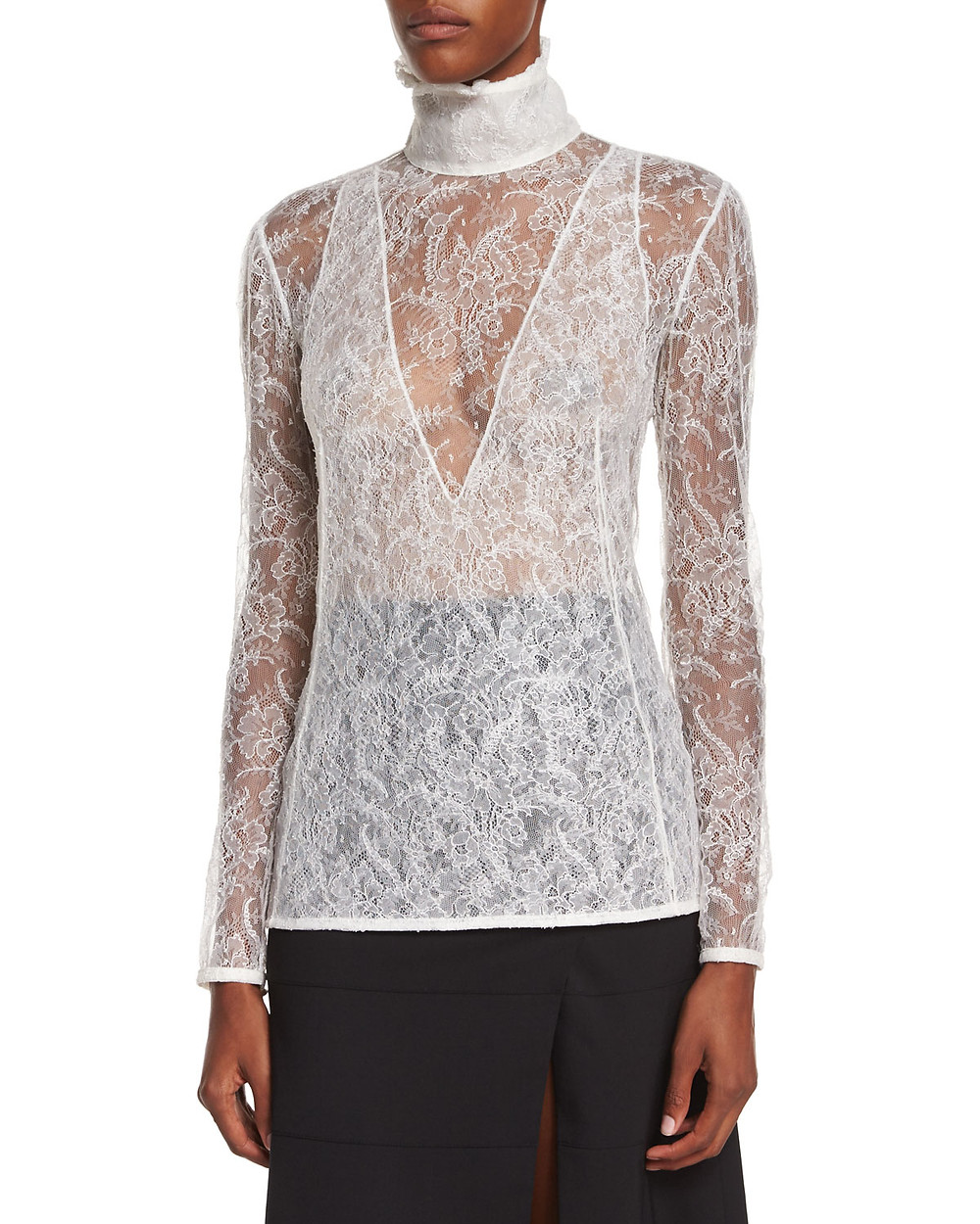 Altuzarra high neck sheer lace blouse $598