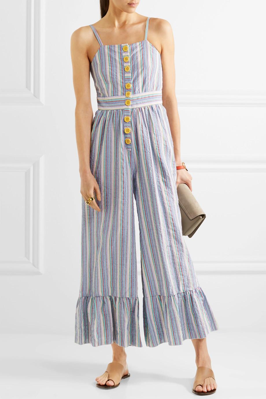 See by Chloe Striped cotton-seersucker jumpsuit $395