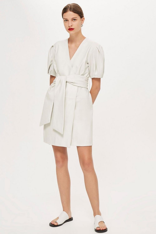 Leather Wrap Mini Dress by Boutique $420