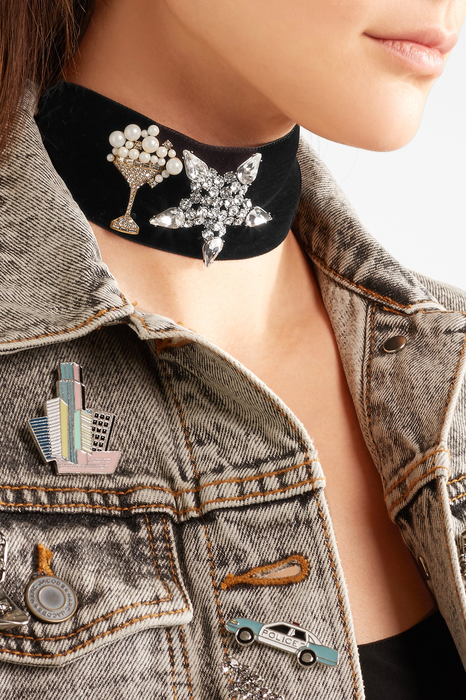 Marc Jacobs Velvet, Swarovski crystal and faux pearl choker $350