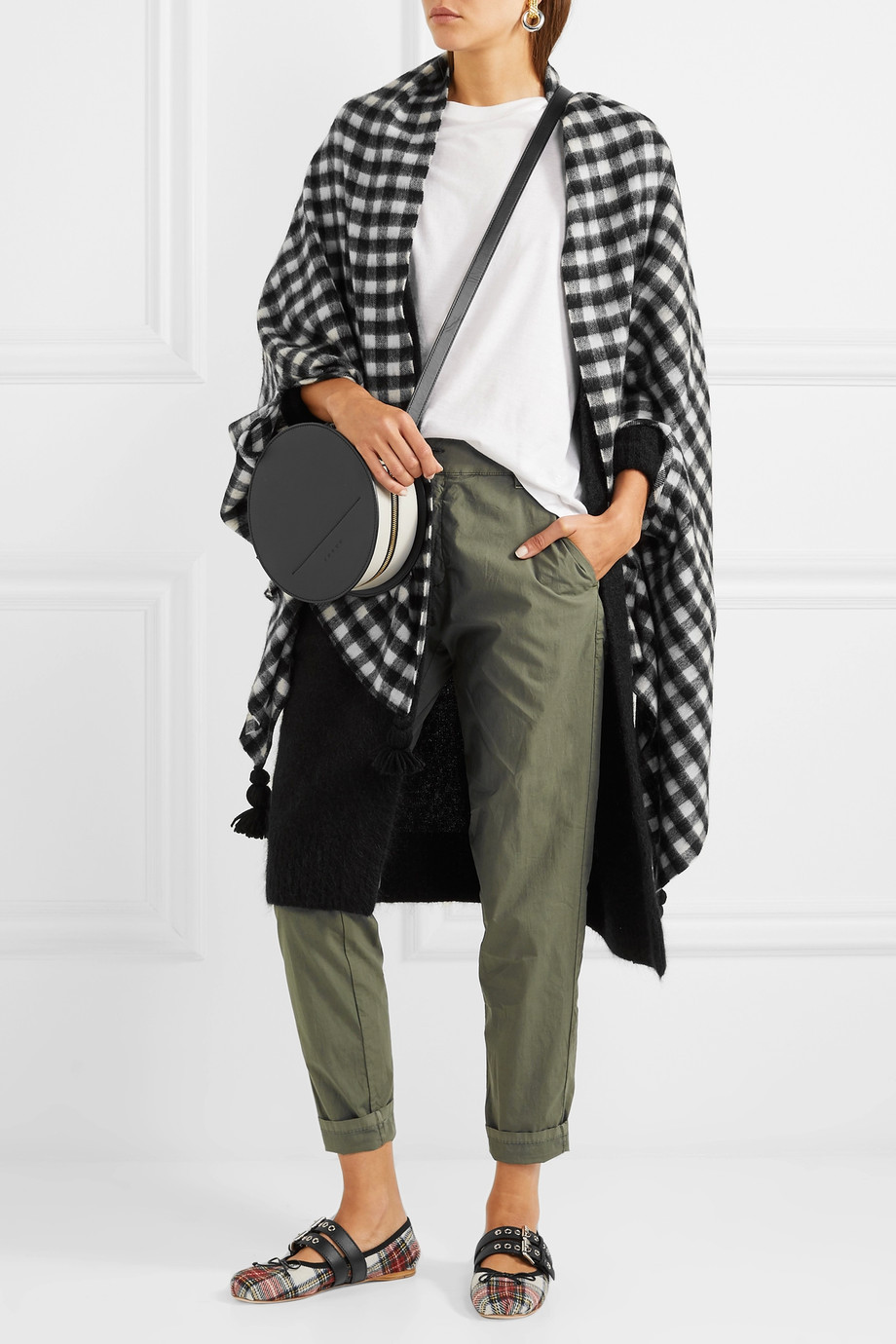 J. Crew Tasseled check wool-blend cape $80
