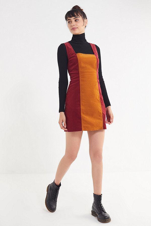 UO Taylor Uncut Corduroy Colorblock Dress $69