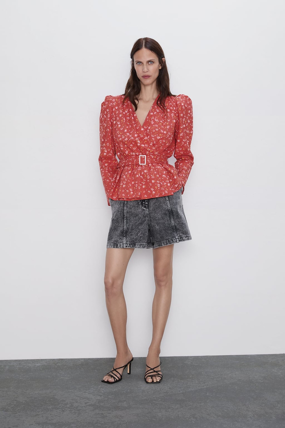 Zara Floral Print Top with pronounced shoulders $49.90