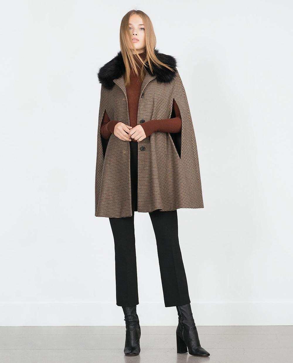 Zara-Houndstooth cape