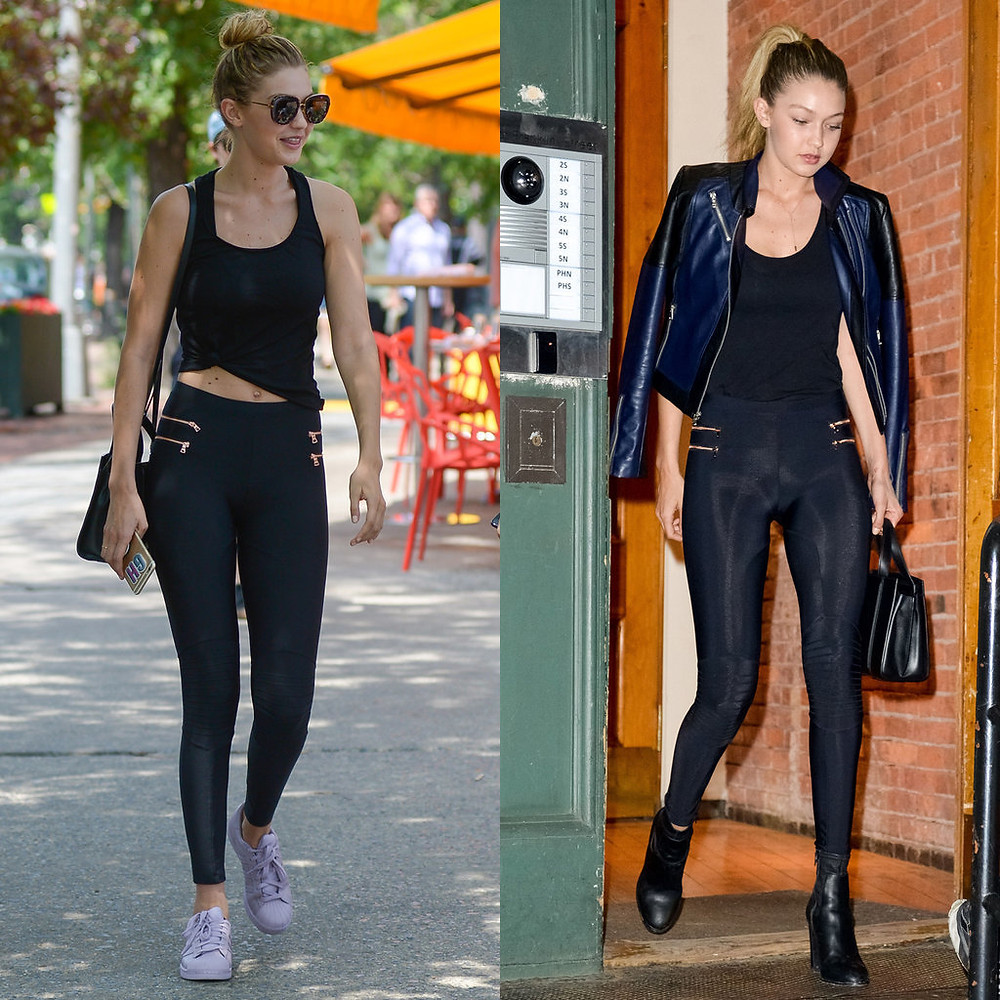 Super Model Gigi Hadid wearing leggings in the day & at night pairs a leather jacket with the leggings