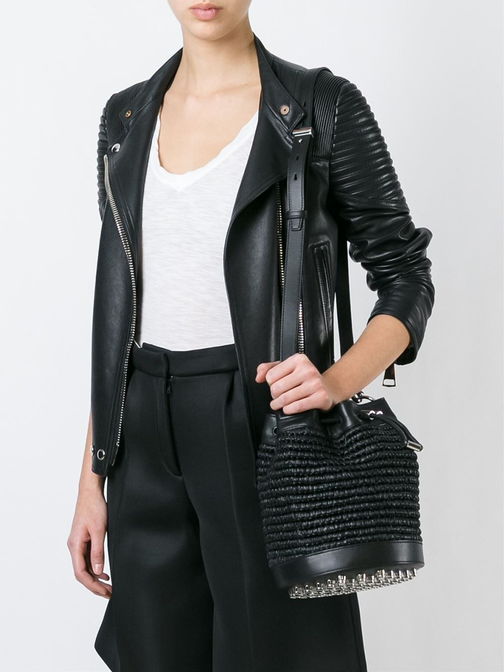 Alexander Wang Black raffia and leather 'Alpha' woven crossbody bag $550