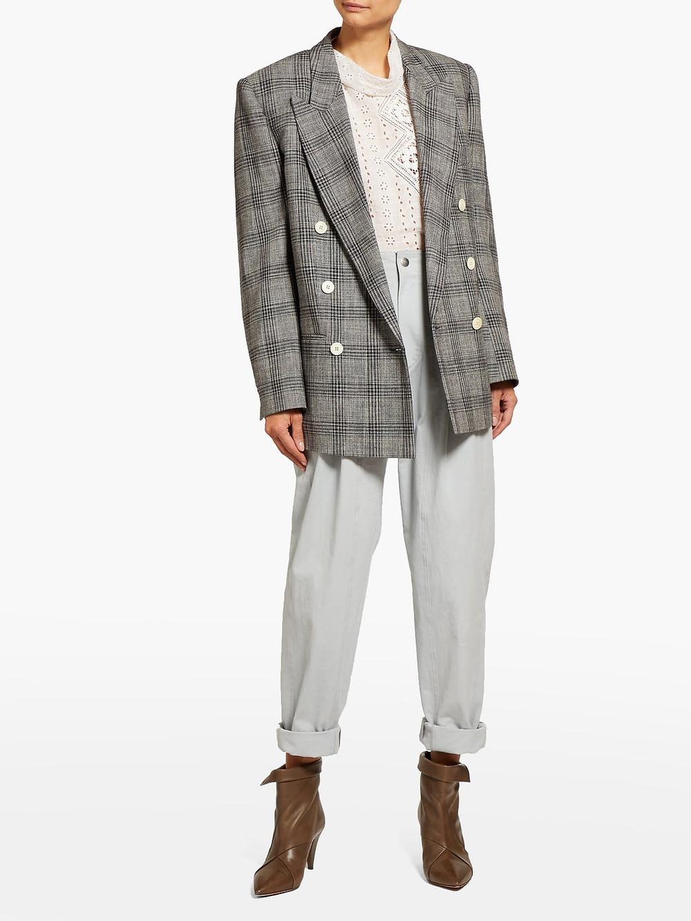 Isabel Marant Deagan checked exaggerated-shoulder wool blazer $1,015