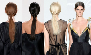 Leanne Marshall Fall 2016 runway look of middle part center ponytail