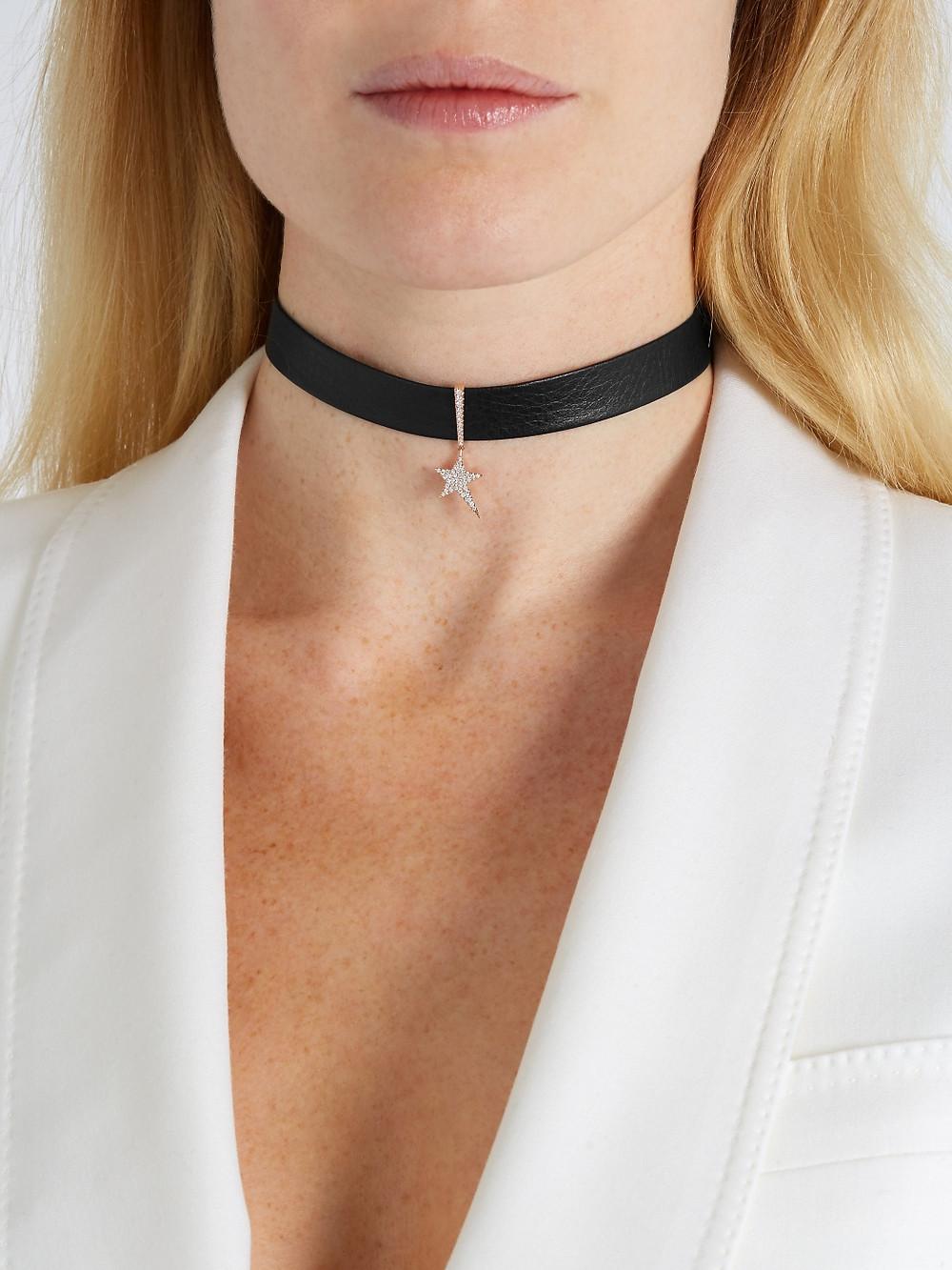 Diane Kordas Diamond, rose-gold & leather choker $3,917