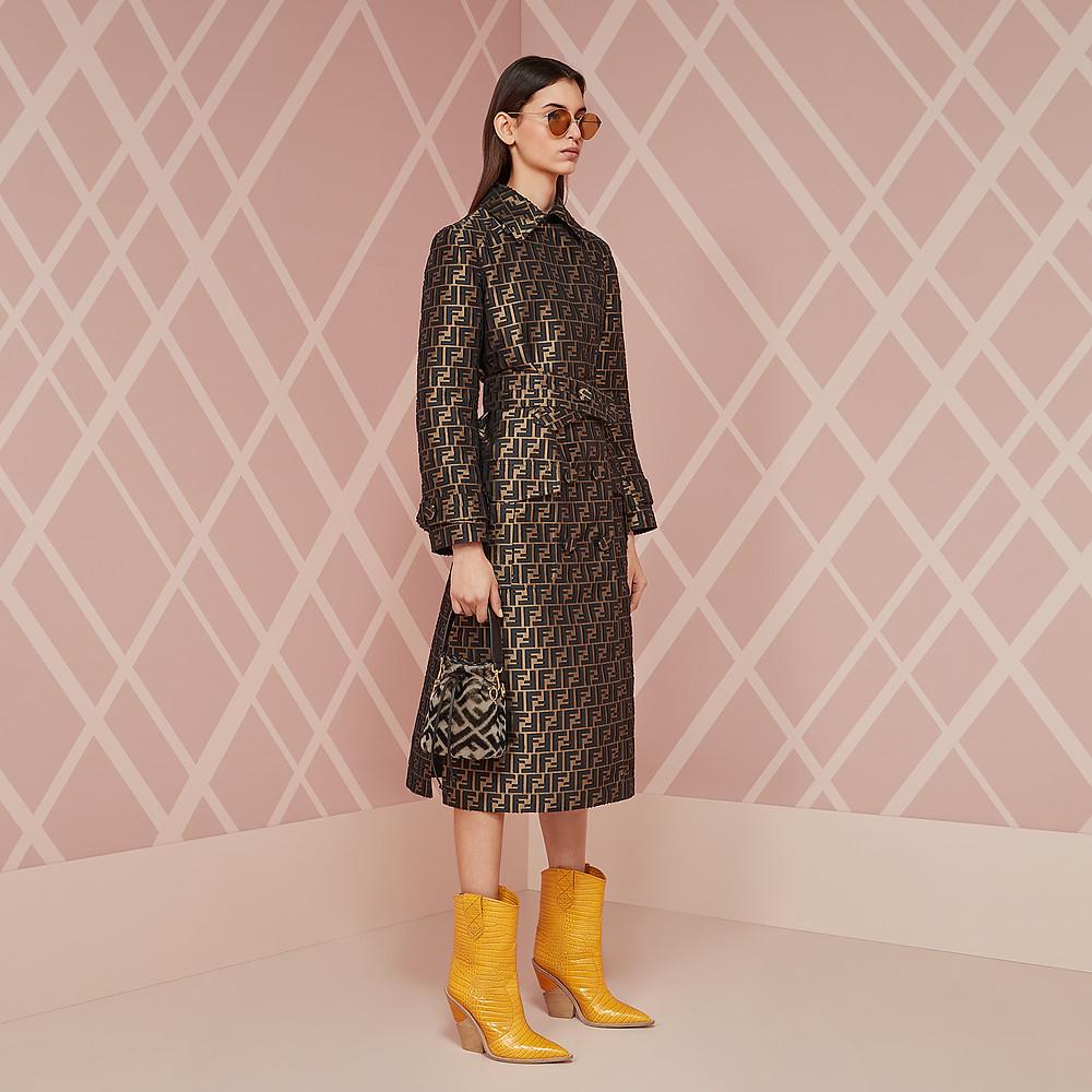 Fendi Yellow crocodile-embossed ankle boots $1,190