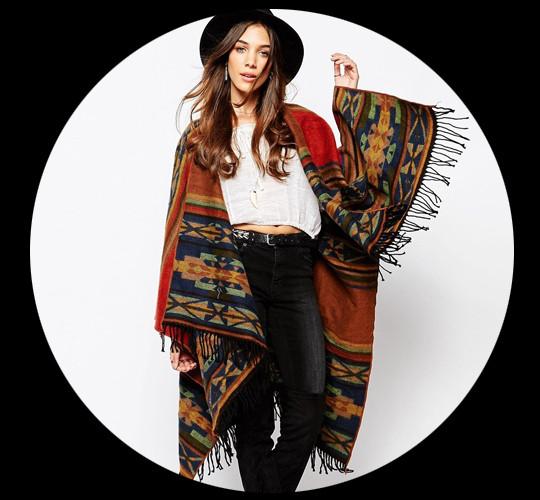 Kiboots Reversible Oversized Wool Wrap Poncho