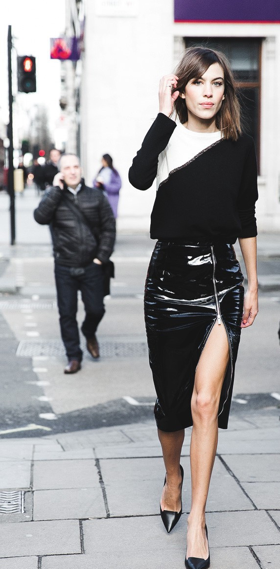 Alexa Chung with the side zipper leather midi skirt