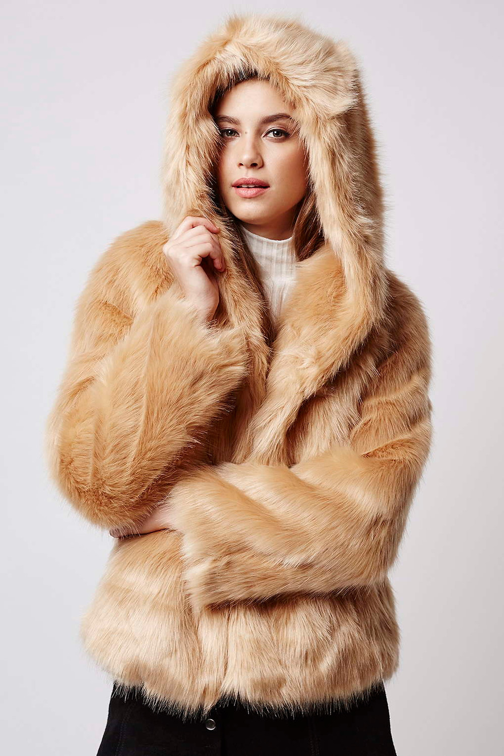 Topshop Luxe Faux Fur Hooded Coat-$170