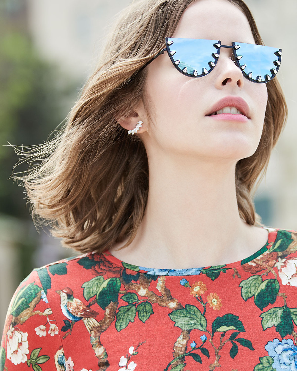 Alice + Olivia Palm Canyon Flat-Top Watermelon Sunglasses, Blue now $262