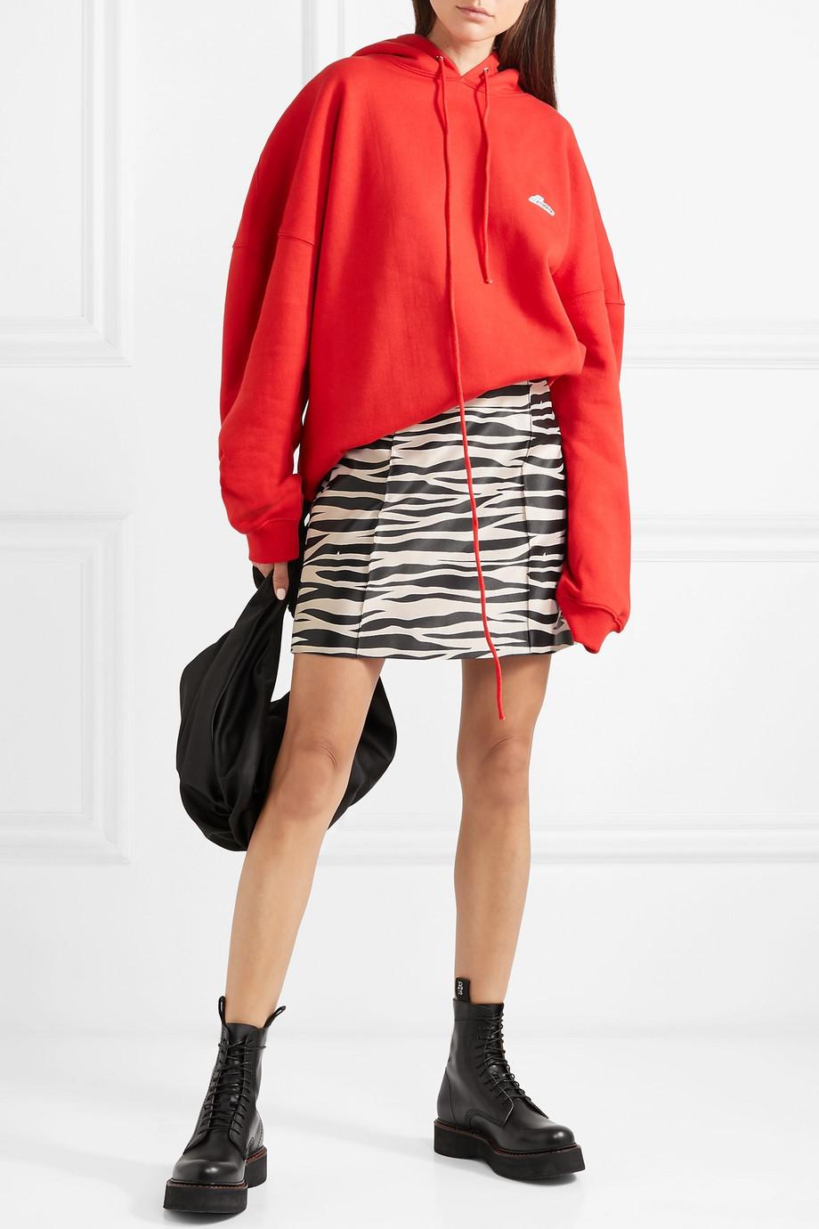 We11Done Zebra-print satin mini skirt $420
