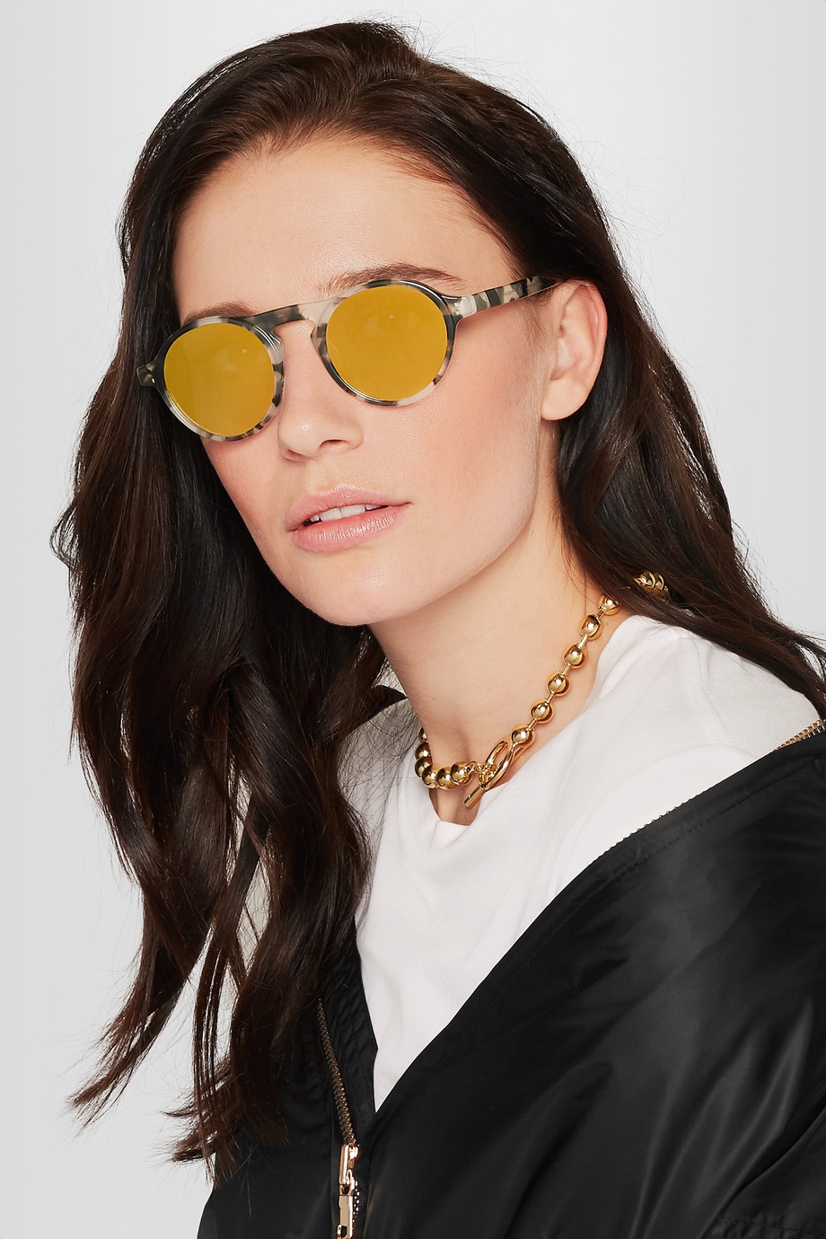 Westward Leaning Dyad round-frame acetate mirrored sunglasses now $68