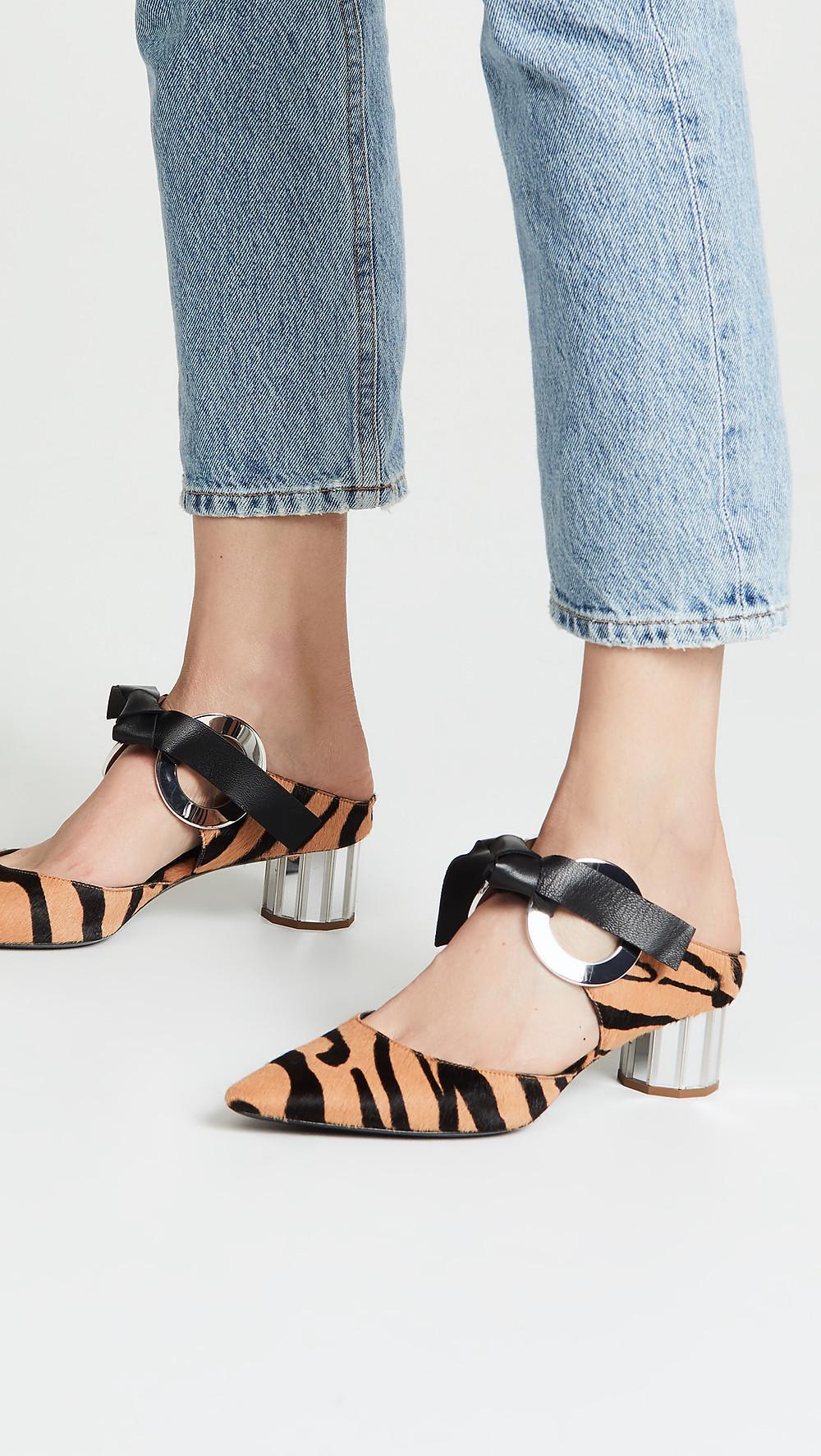 Proenza Schouler Zebra Print Grommet Block Heel Pumps $1,140