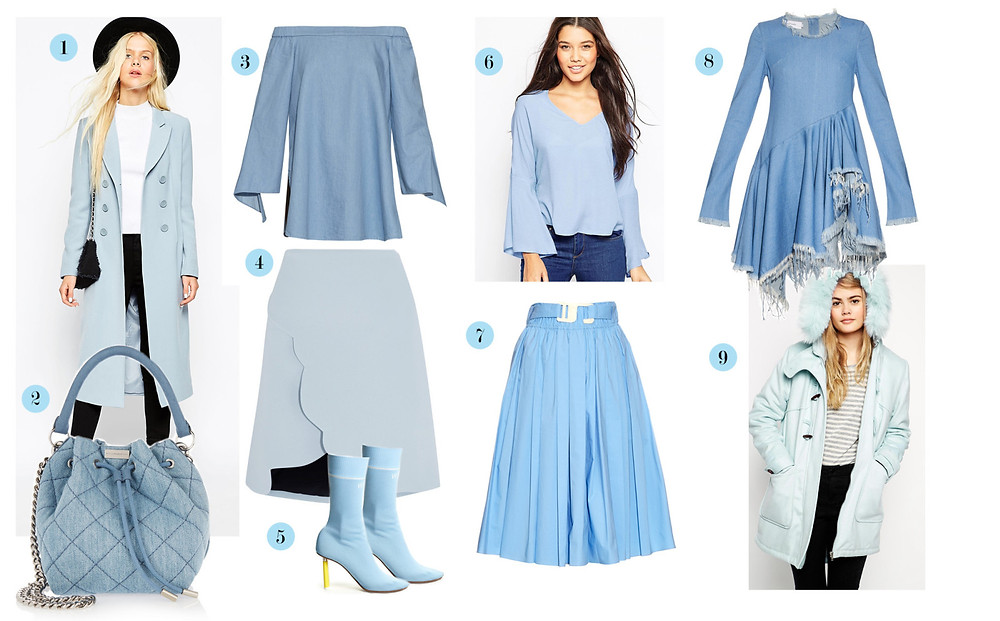 1. ASOS double breasted coat 2.Stella McCarthney bucket bag 3.Tibi Off the Shoulder Top 4.Carven Scalloped Wrap Skirt 5.Vetements Sock Boots 6.Mango Bell Sleeve Top 7.Trademark Belted Skirt 8.Marques' Almeida Frayed Dress 9.Asos Duffle Parka