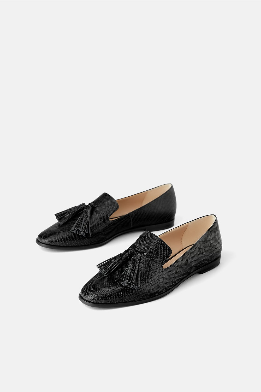 Zara Animal Print Tasseled Loafers $39.90