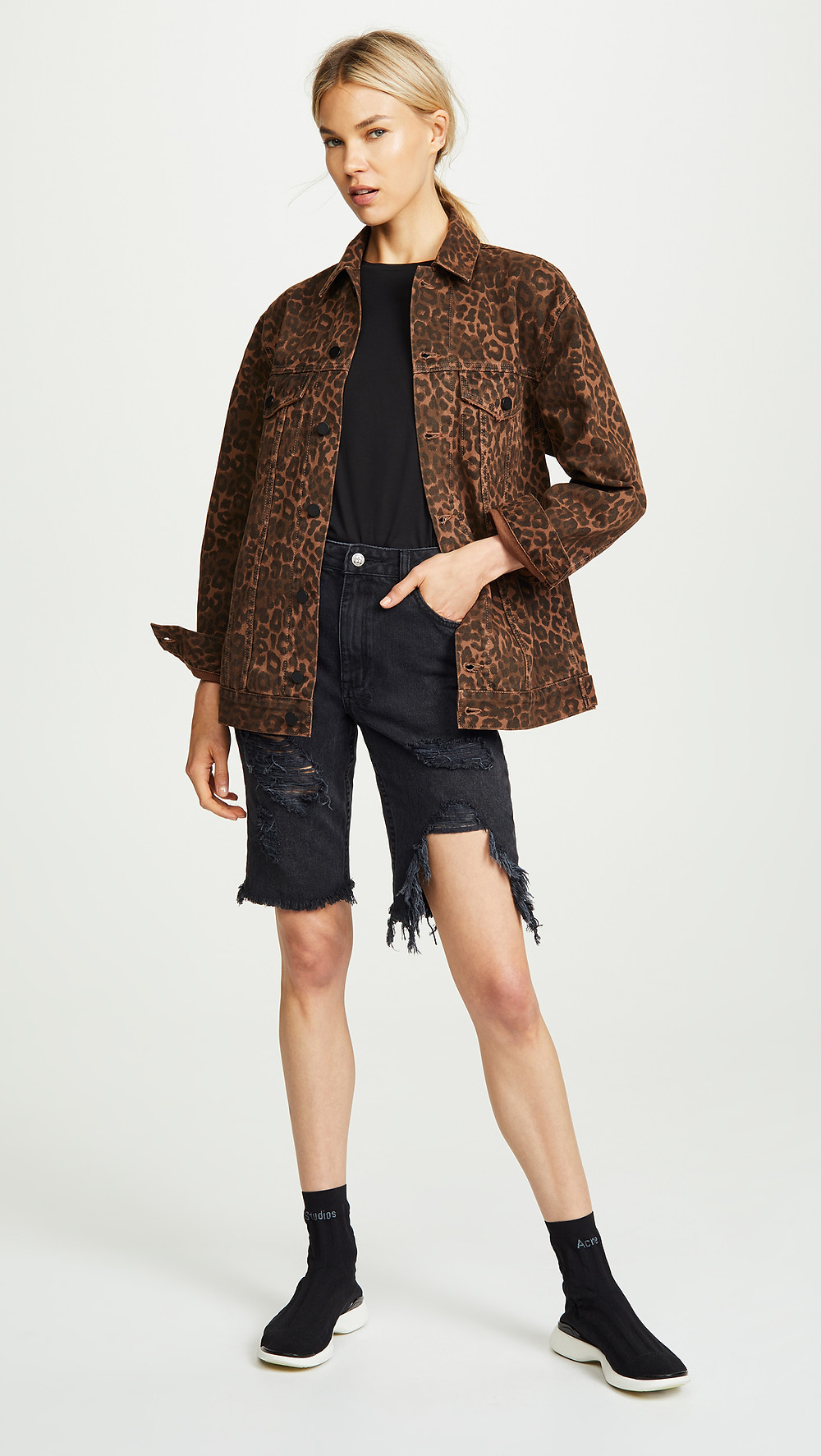 Denim x Alexander Wang Daze Leopard-Print Jacket $495