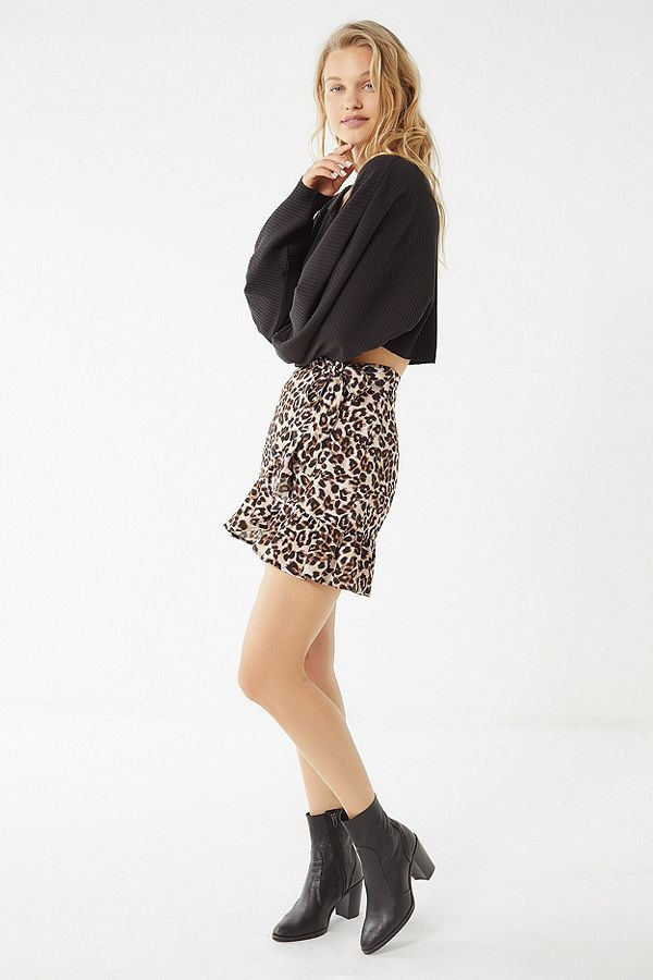 Urban Outfitters Leopard Ruffle Wrap Skirt $54