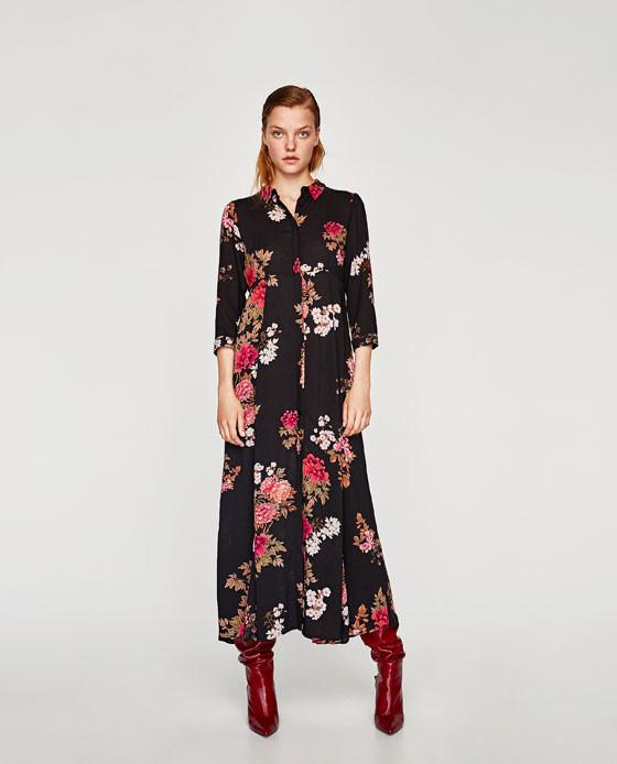 Zara Long Floral Print Dress $69.90