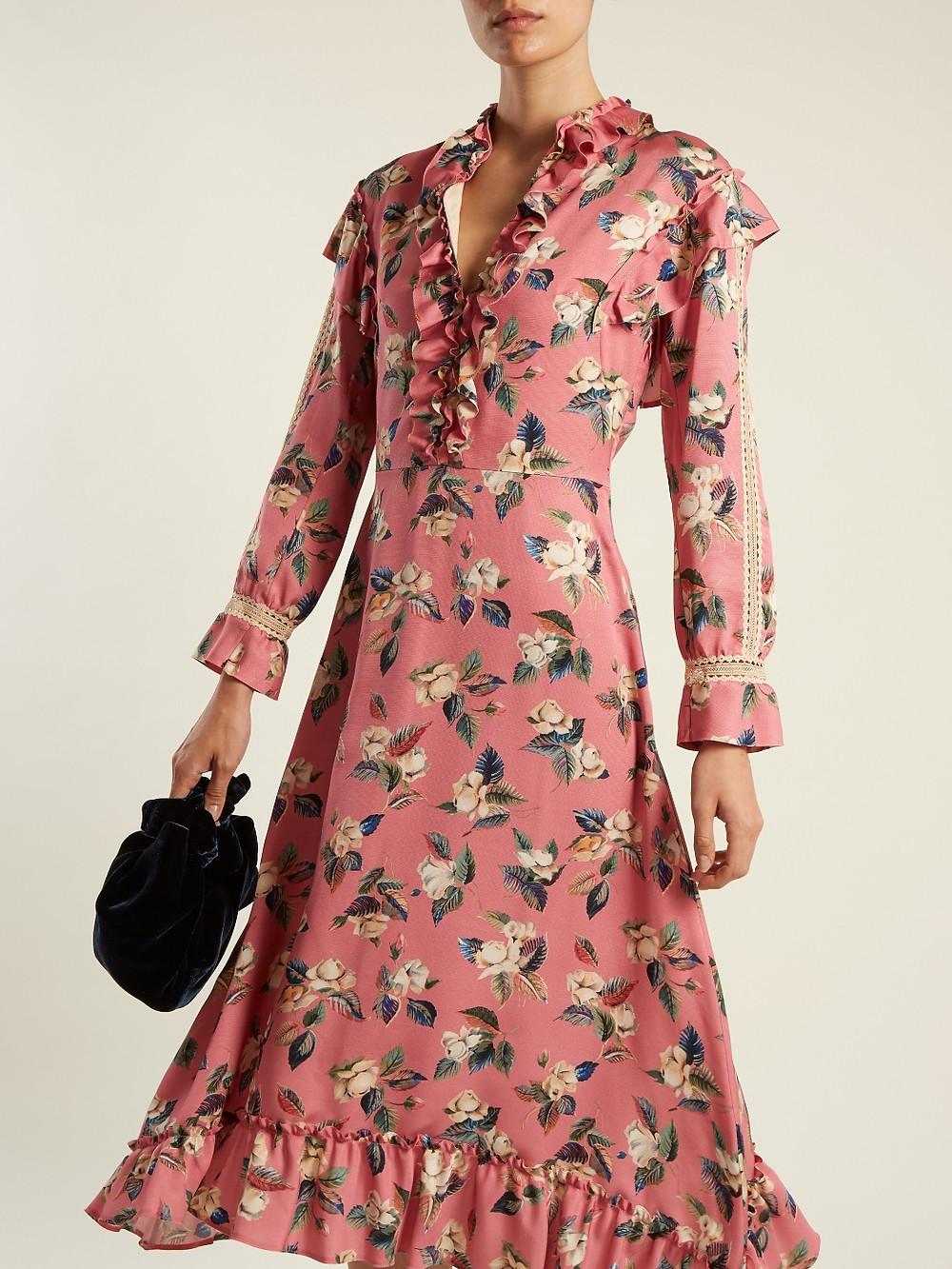 Vilshenko Palasha floral-print wool and silk-blend dress  $1,098