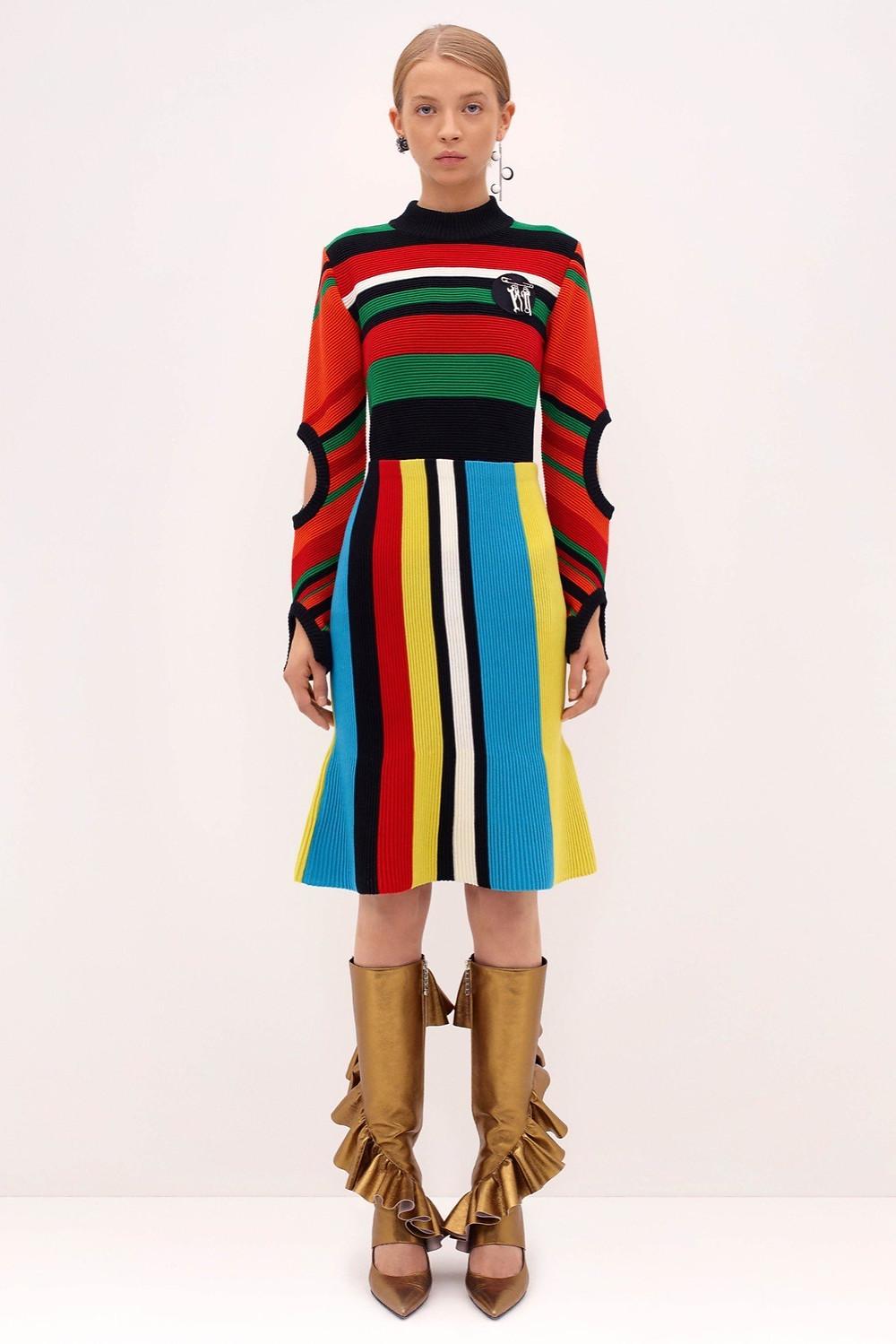 J.W. Anderson stripe mockneck $785 and stripe skirt $655