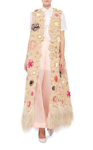 Delpozo Floral Embroidered Vest With Raffia Hem $15,350