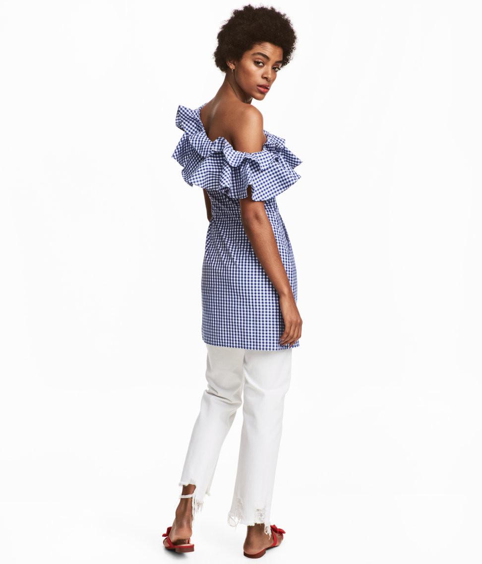 H&M One Shoulder  Short Flounced Dress $59.99