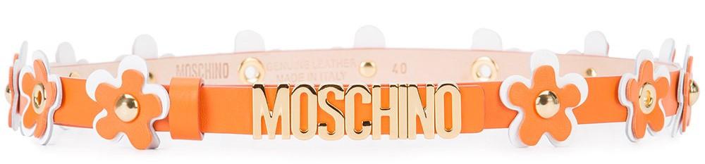 Moschino flower embellished belt now $236