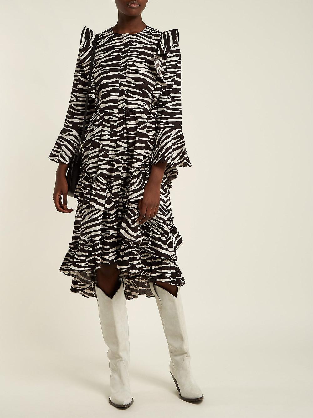 Ganni Faulkner zebra-print cotton midi dress $228