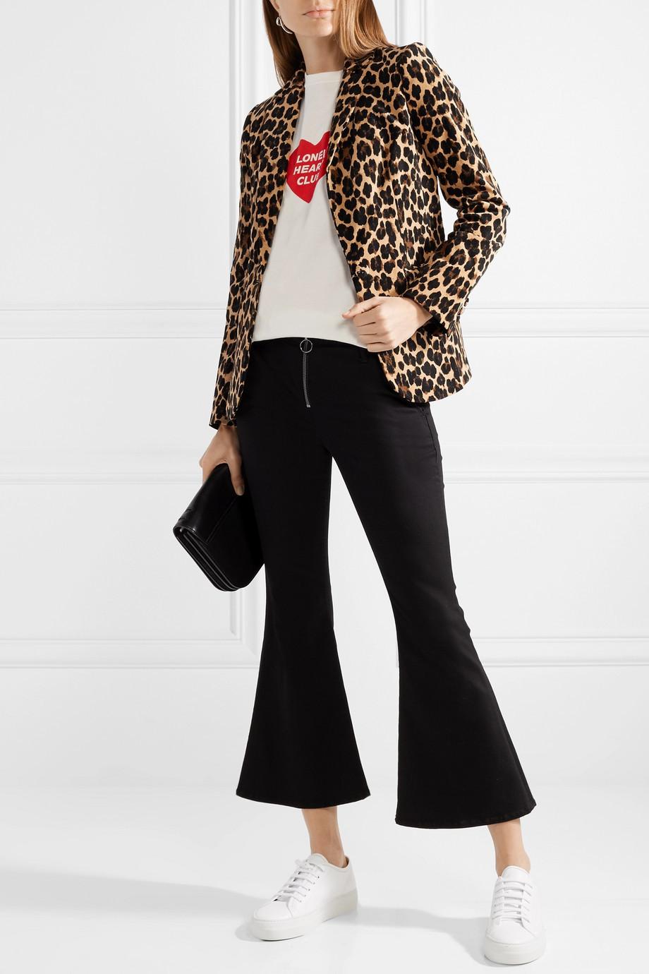 Frame Leopard-print cotton-blend velvet blazer $297.50