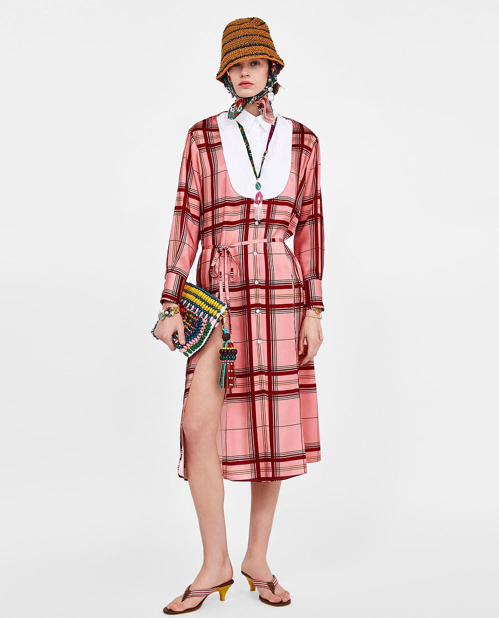 Zara Contrast Checked Dress $29.99