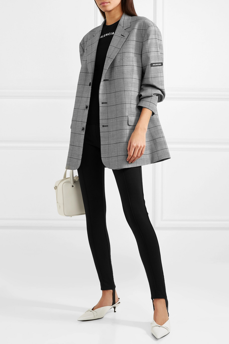 Balenciaga Prince of Wales checked cady blazer with internal shoulder pads $2,650