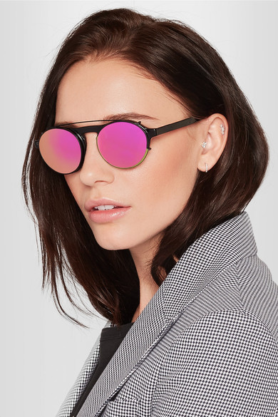 Westward Leaning Round-frame acetate sunglasses with clip-on lenses $275