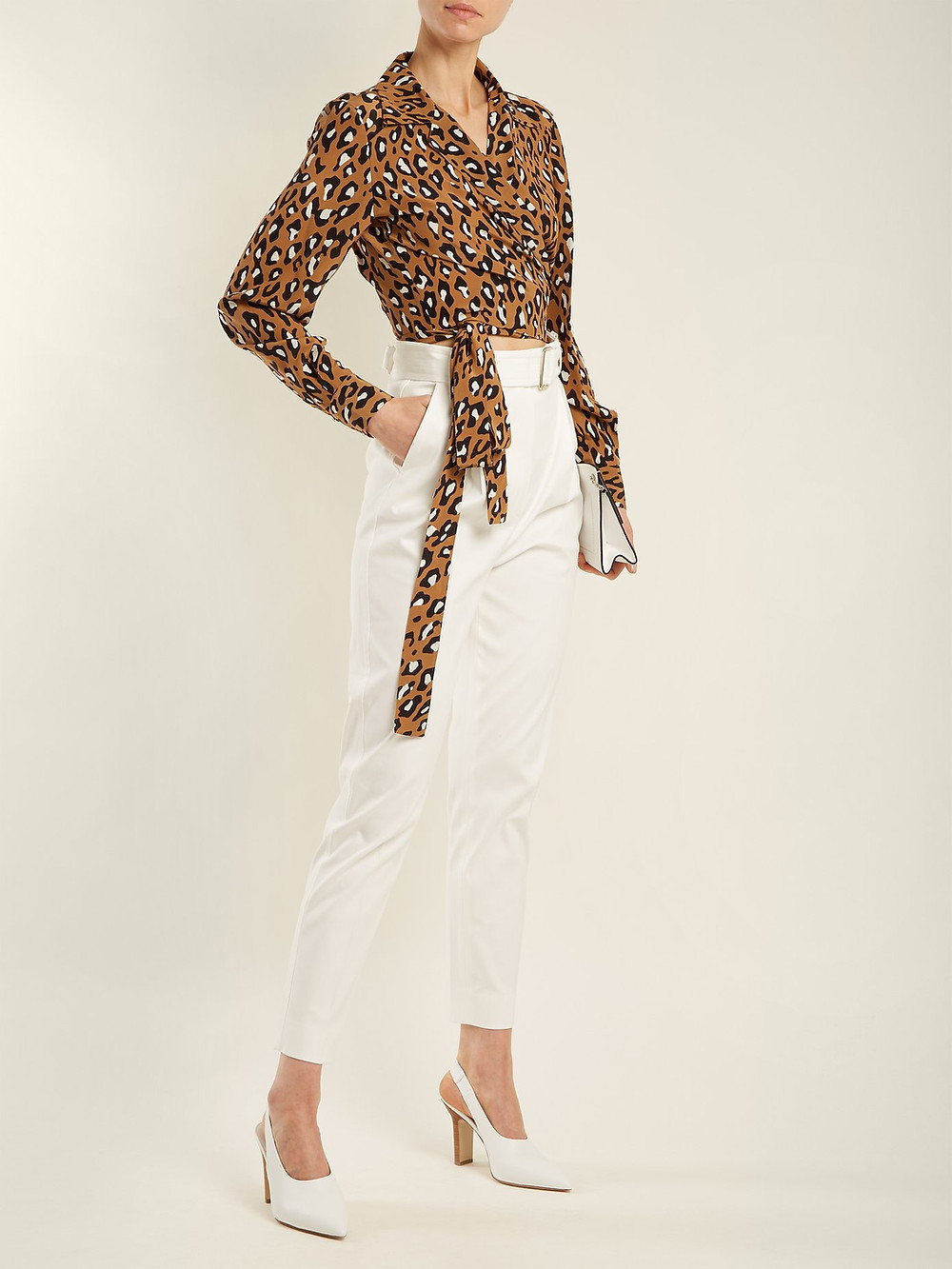 Diane Von Furstenberg Whitman leopard-print silk blouse $178