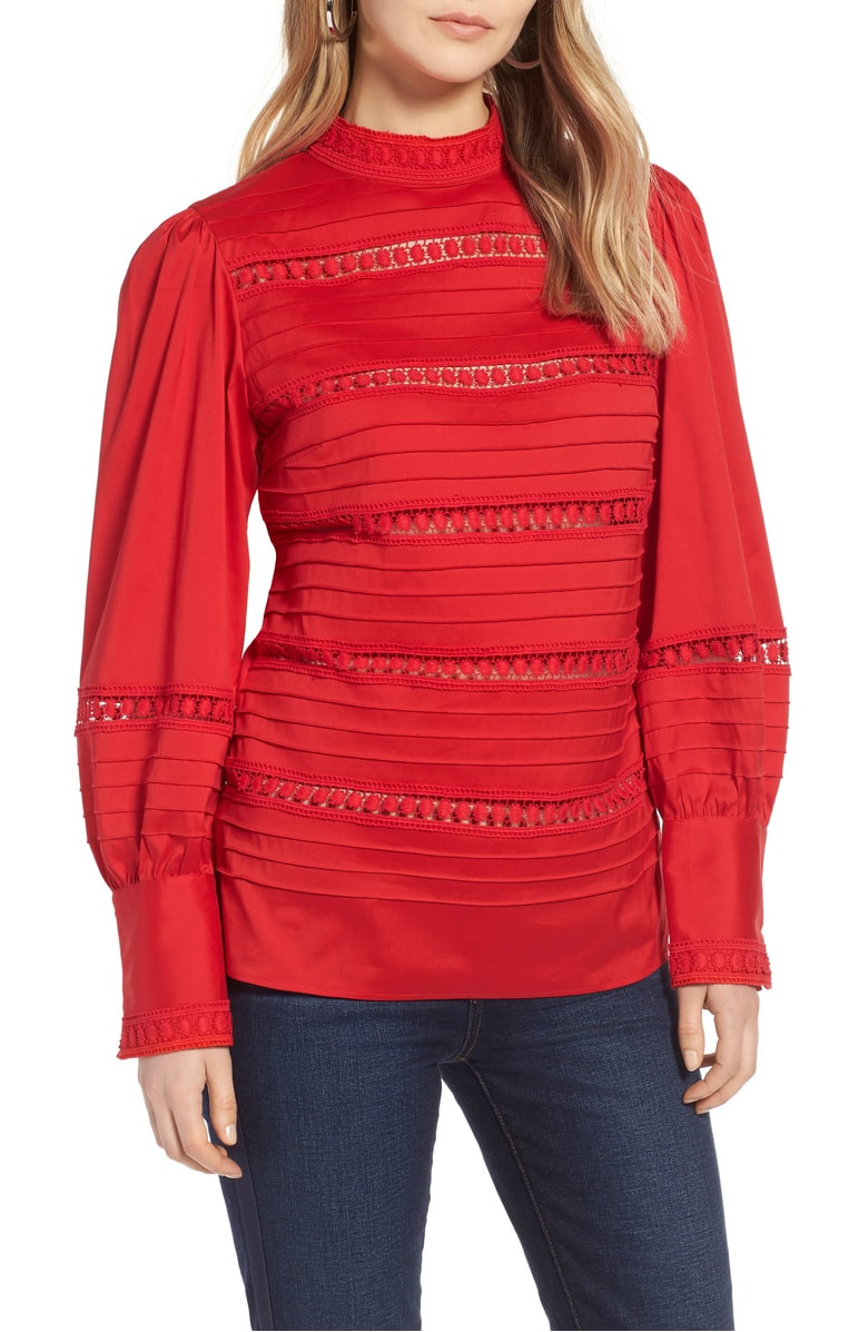 Halogen Lace Inset Cotton Blend Blouse $56.90