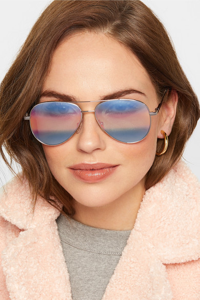 Cutler and Gross Aviator-style silver-tone mirrored sunglasses $460