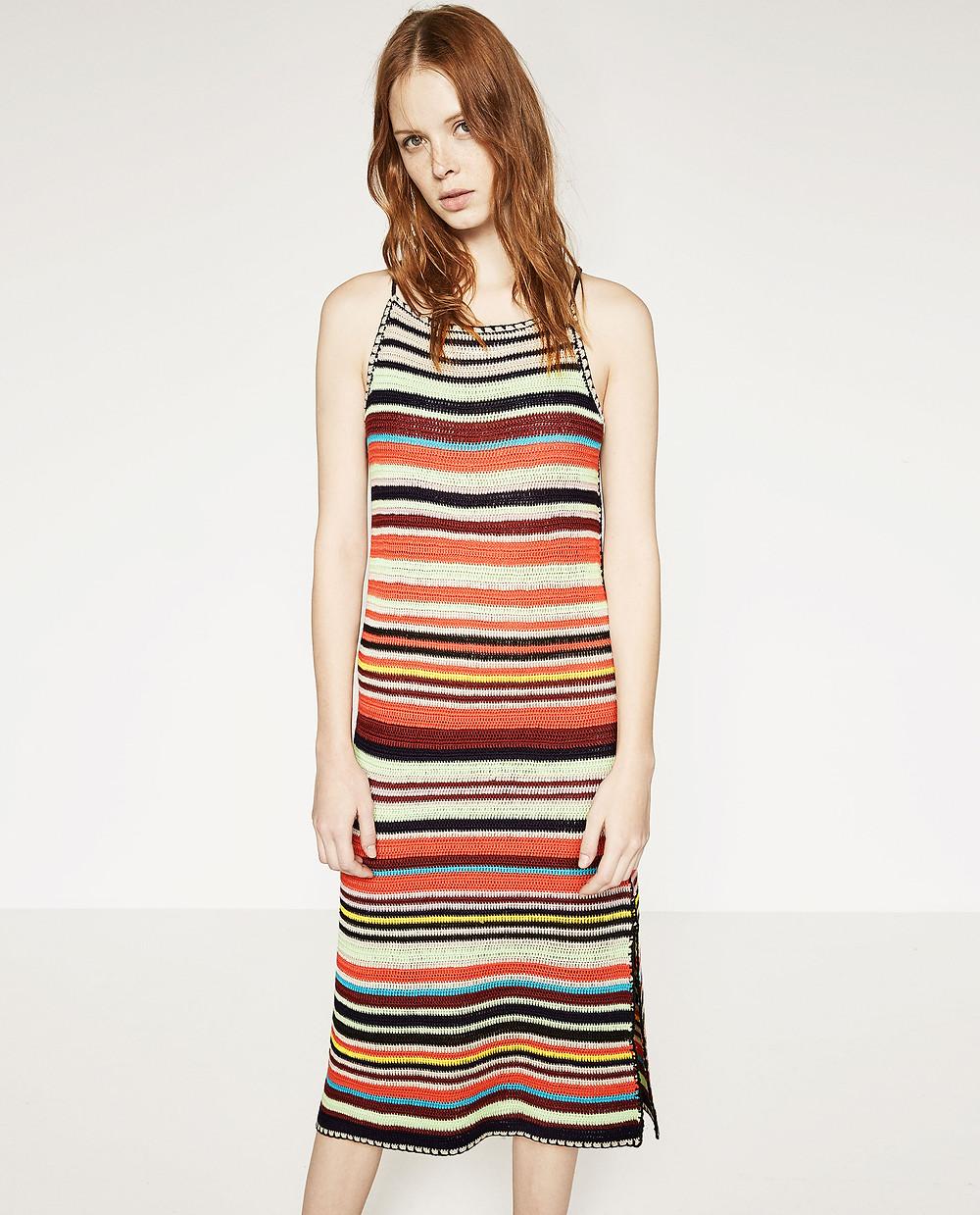 Zara multicolored crochet dress $59.90